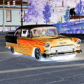 by Darrin McNett - Digital Art Things ( flames, chevrolet, coupe, 1955, negative, chevy,  )