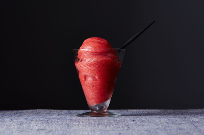 Strawberry sorbet that's a sure bet.