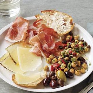 Tapas Plate With Marinated Chickpeas.