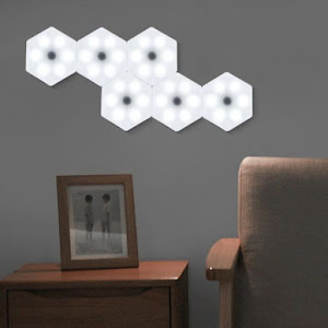 Set 3 lampi modulare Hexagon, 15 culori RGB, telecomanda, senzor tactil