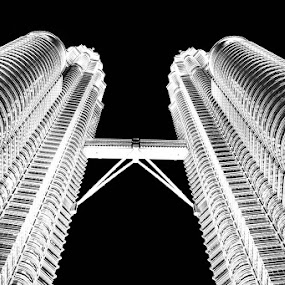 Twin Tower by Liang Deoz - Buildings & Architecture Architectural Detail ( black and white, pwcbuilding )