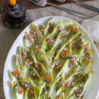 Endive Salad w/ Salmon Caviar and Cashew Crème Fraîche