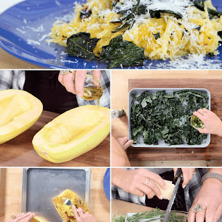 Roasted Spaghetti Squash With Kale and Parmesan.