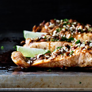 Baked Salmon with Wasabi Soy Almonds Recipe