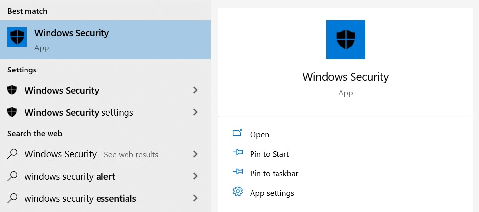 The Microsoft Defender search result