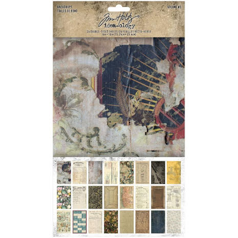 Tim Holtz Idea-Ology Backdrops Double-Sided Cardstock 6X10 24/Pkg - Volume #2