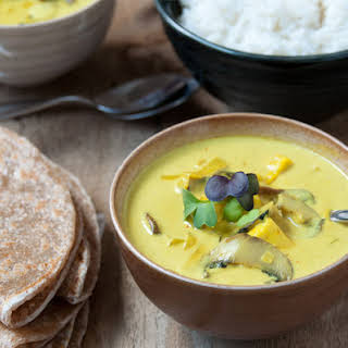 Mushroom Coconut Curry with Leeks and Paneer.