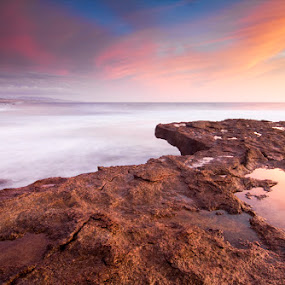 Reflex and Sky Explosions by Nuno Martins - Landscapes Sunsets & Sunrises ( ericeira, beach, sunset, clouds, reflex, rocks )