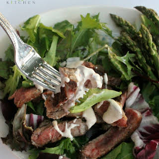 Steak Salad with Low Calorie Blue Cheese Dressing.