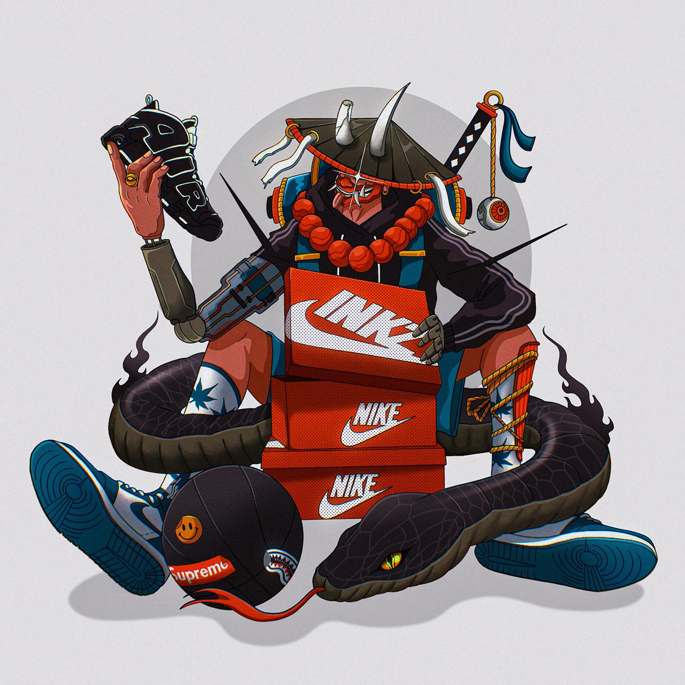 artwork Character design  Digital Art  hypebeast ILLUSTRATION  Nike Procreate sketch sneakers streetwear