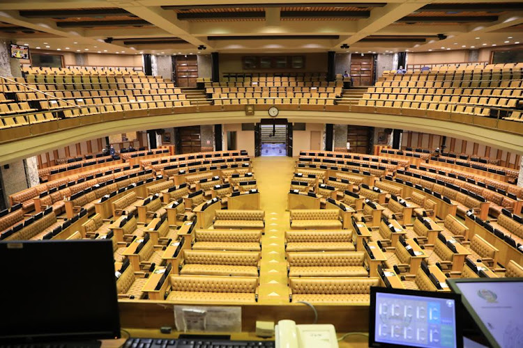 Parliament was empty before the president's state of the nation address on February 11 2021.