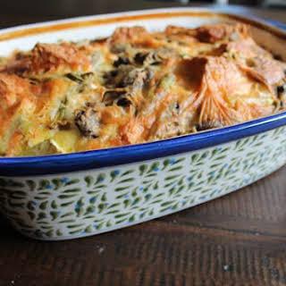 Asparagus, Mushroom, and Cheddar Egg Casserole.