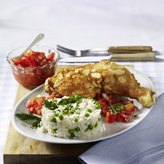 Almond-Breaded Drumsticks with Salsa and Rice
