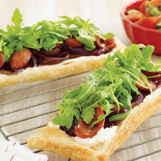 Chorizo and Onion Tart with Tomato Salad.