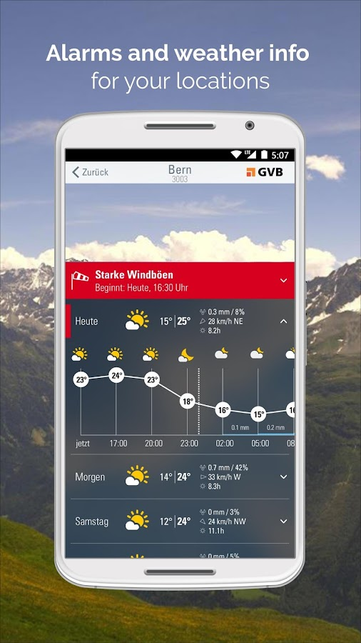 Weather Alarm - forecast & alerts for Switzerland- screenshot