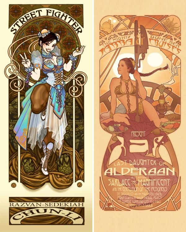 Chun Li e Slave Leia Art Nouveau