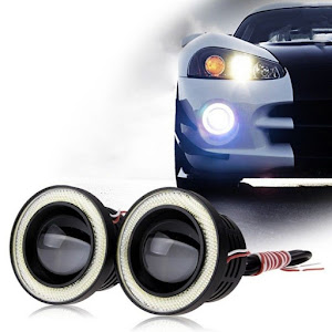 Set 2 proiectoare auto LED, lupa, Angel Eyes, 64 mm