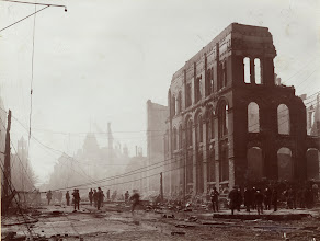 Photo: Front, west at Bay. Numerous onlookers inspecting the wreckage of buildings on Front Street facing west at Bay. Toronto Public LibraryTEC 145Ah