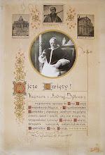 Photo: Duży dokument (28 x 41 cm) z błogosławieństwem papieskim dla pobożnej rodziny z Wrześni, ze zdjęciem Piusa XI z epoki i kopią portretu św. Andrzeja Boboli, oraz suchą pieczęcią i datą 9 października 1938 r.