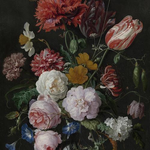 still life with flowers in a glass vase  jan davidsz  de