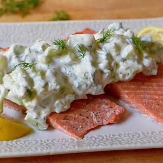 Oven-Poached Salmon with Cucumber Sauce