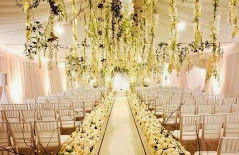 hanging flowes and aisle