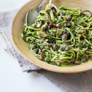 Kale and Basil Pesto Zoodles with Mushrooms Recipe