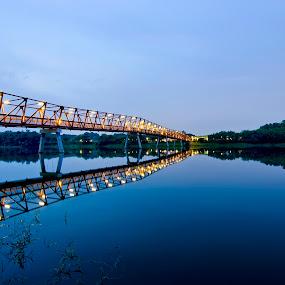 Lorong Halus Pedestrian Bridge by Jashper Delloroso - City,  Street & Park  Neighborhoods ( reflection, blue hour, wetland, bridge, lorong halus, sg, singapore, punggol,  )
