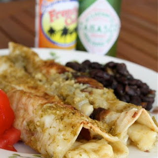 Cheese & Onion Enchiladas with Verde Sauce