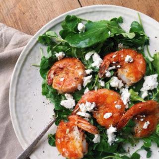 Pea Shoot Salad with Shrimp, Goat Cheese and Citrus Vinaigrette.