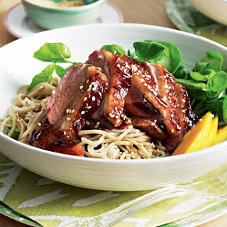 Duck Breast With Soba Noodles And Mango.