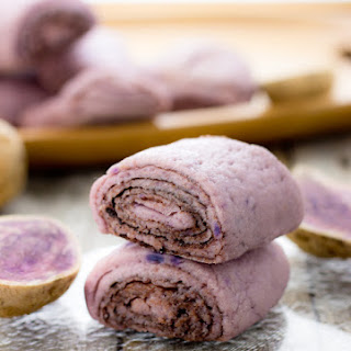 Steamed Purple Yam Cocoa Rolls