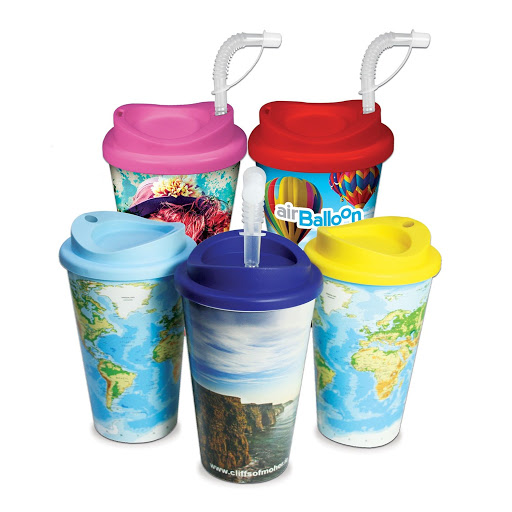 Full Colour Hot & Cold Takeaway Mug with Straw