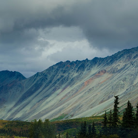 Cloudy Trip  by Rebecca Weatherford - Landscapes Mountains & Hills ( mountains, fall, alaska, weather, trees )