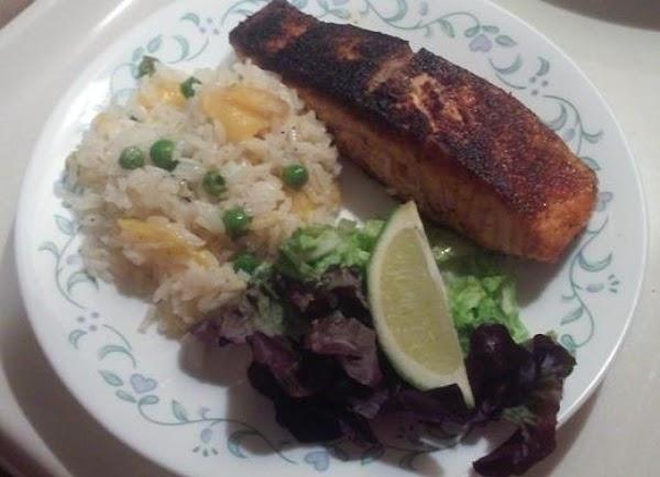 Blacken Salmon With Coconut Mango Rice. Recipe