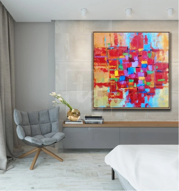 Orange Painting Blue Painting Texture Painting Original Abstract Art