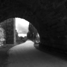 Under the Bridge by Daly Sda - Black & White Landscapes ( black and white, landscape, bridges )