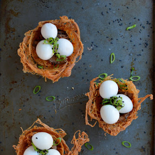 Baked Noodle Bird Nests with Quail Eggs