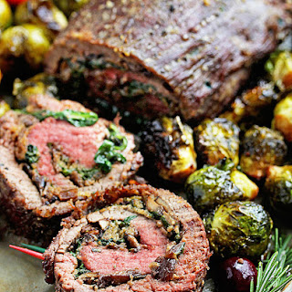 Mushroom and Spinach Stuffed Steak.