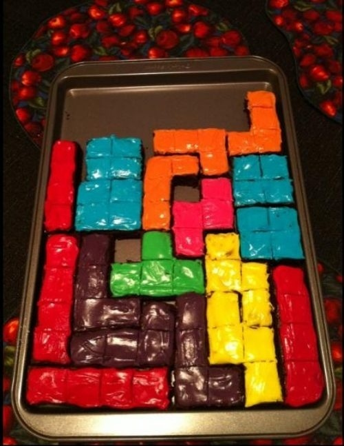 tetris brownies cake