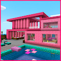 Pink house with furniture. Craft maps and mods icon