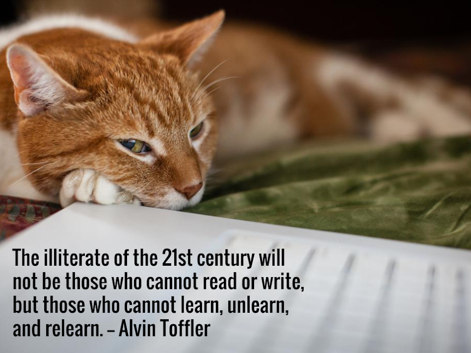 The illiterate of the 21st century will not be those who cannot read or write, but those who cannot learn, unlearn, and relearn. -— Alvin Toffler