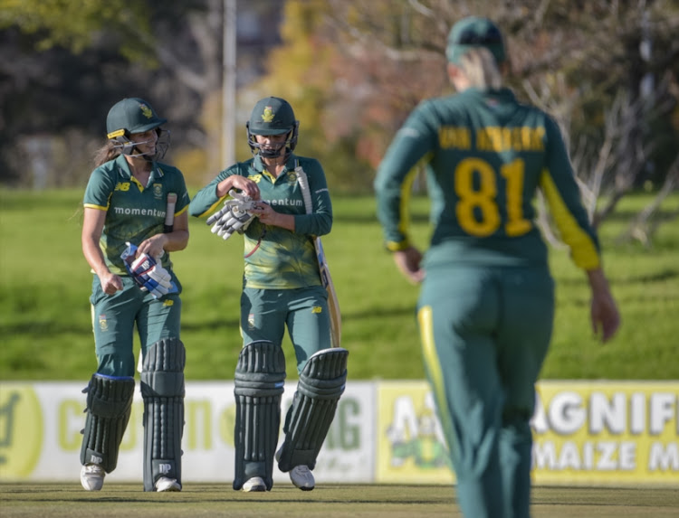 Laura Wolvaardt and Marizanne Kapp of South Africa after the winning runs during the 5th Womens ODI match between South Africa and Bangladesh at Mangaung Oval on May 14, 2018 in Bloemfontein, South Africa.