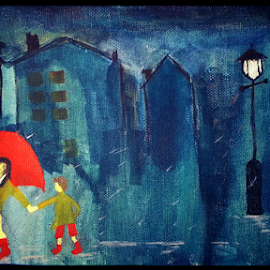 Bluish Night by Bassam Khattar - Painting All Painting