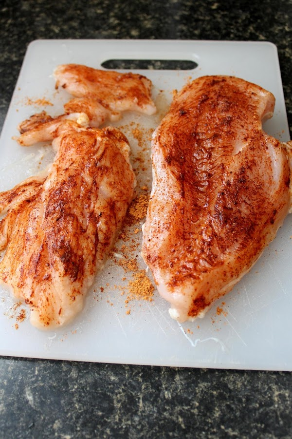 Coat chicken breast on each side, lightly, with taco seasoning and bake until done...