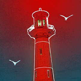 Red Lighthouse by Edward Gold - Digital Art Things ( digital photography, blue water, white birds, red lighthouse, artistic, digital art )