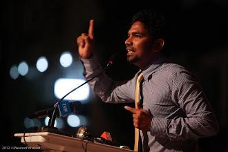 Photo: MP, Baarashu Constituency, Shifaz, Speaking at MDP Rally Artificial Beach. Photo: Maapu