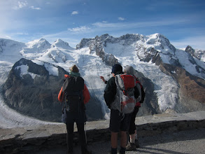 Photo: However, we're more interested in the multiple glaciers pouring off Monte Rosa.