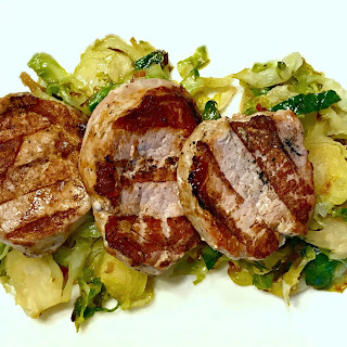 Pork Medallions and Maple-Kissed Brussels Sprouts.