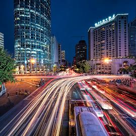 by Gordon Koh - City,  Street & Park  Street Scenes ( motion, city, dusk, billboards, night, long exposure, colors, street, busy, nightscape, cityscape, blue hour, lights, traffic )